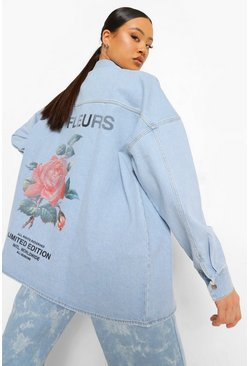 Mid blue blue Back Print Rigid Oversized Denim Shirt