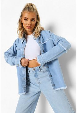 Mid blue blue Fray Hem Seam Detail Oversized Shirt