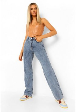Vintage blue blue Vintage Wash High Waisted Boyfriend Jeans