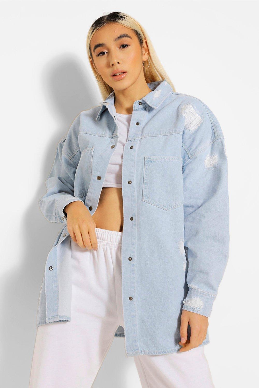 Denim Shirts & Tops Distressed Rigid Denim Oversized Shirt
