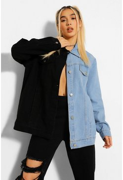 Black Colour Block Oversized Jacket