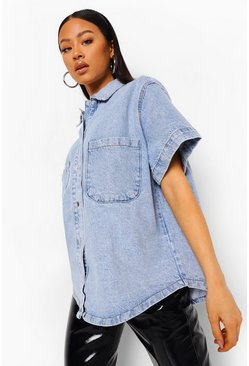 Vintage blue blue Vintage Oversized Short Sleeve Denim Shirt
