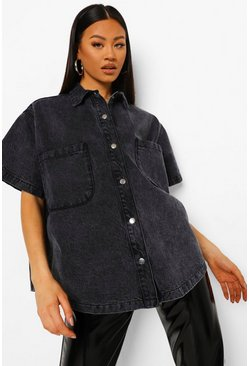 Grey Oversized Short Sleeve Denim Shirt