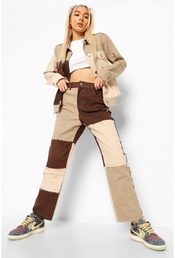 Chocolate brown Patchwork Straight Leg Jeans