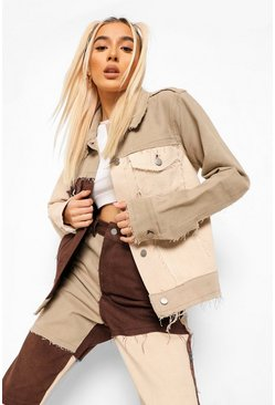 Chocolate brown Patchwork Colour Block Denim Jacket