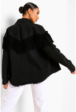 Washed black Tassel Denim Jacket