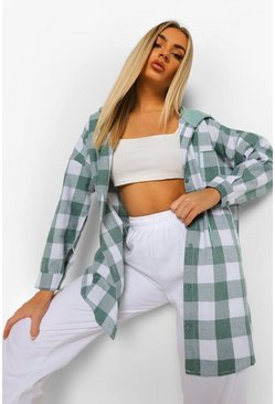 Green Hooded Oversized Check Shirt