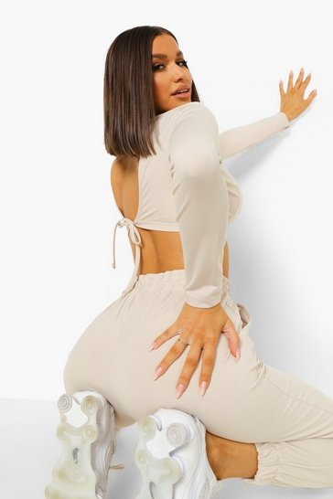 Stone beige Tie Back Active Crop Top