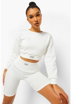 Ofcl Ribbed Gym Sweat, Cream bianco
