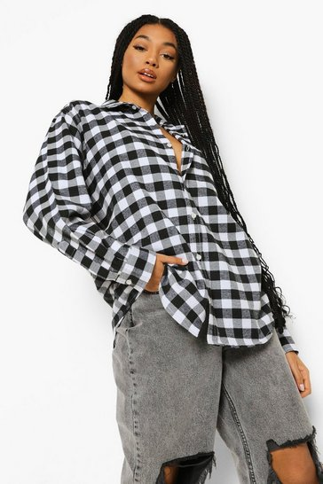 Black Brushed Oversized Checked Shirt
