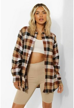 Brown Brushed Checked Shirt