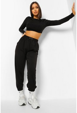Black Toggle Waist Active Joggers