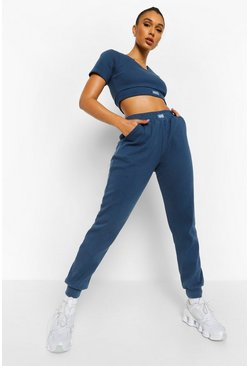 Blue Ofcl Ribbed Gym Joggers