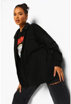 Black Loopback Oversized Boyfriend Shirt