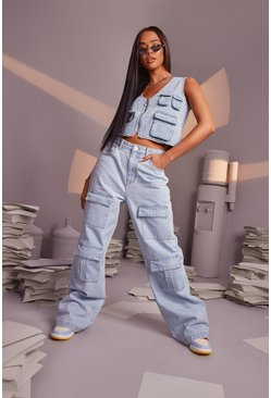 Light blue blue High Rise Wide Leg Utility Pocket Jeans