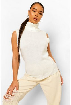 Cream white Roll Neck Knitted Tank