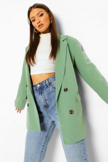 Sage green Oversized Double Breasted Dad Blazer