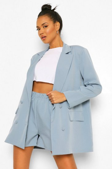 Dusty blue blue Oversized Dad Blazer