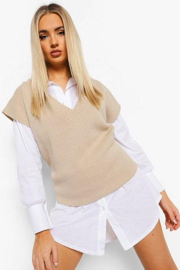 Stone beige Oversized Dip Hem Knitted Tank Top