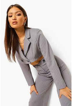 Pinstripe Crop Blazer & Trouser Suit Set