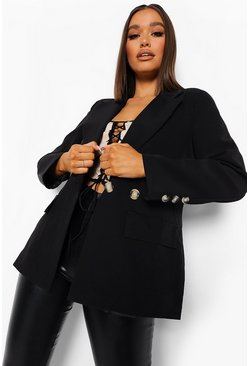 Black Oversized Button Front Blazer