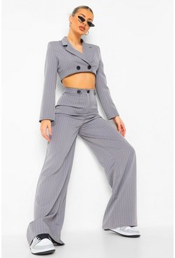 Grey Pinstripe Wide Leg Trousers