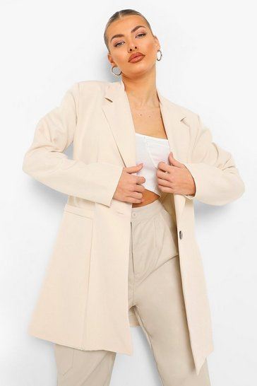 Sand beige Pleat Front Long Line Oversized Blazer