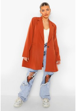 Spice orange Pleat Front Long Line Oversized Blazer