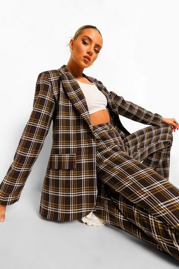 Chocolate brown Tonal Checked Oversized Dad Blazer