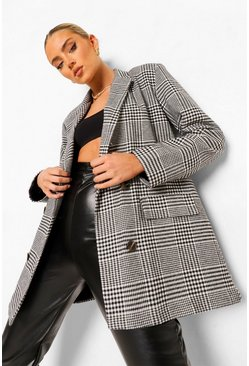 Checked Oversized Double Breasted Dad Blazer, Black negro