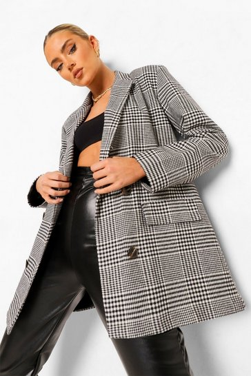 Black Checked Oversized Double Breasted Dad Blazer