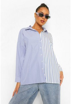 Blue Contrast Stripe Oversized Shirt