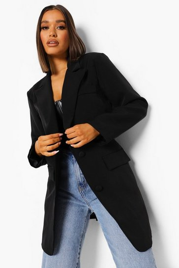 Black Oversized Single Breasted Dad Blazer