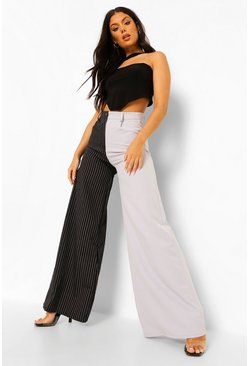 Grey Pinstripe Contrast Wide Leg Trousers