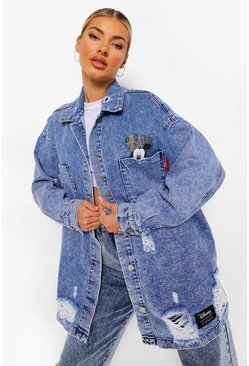 Denim-blue blue Disney Denim Oversized Micky Mouse Shirt