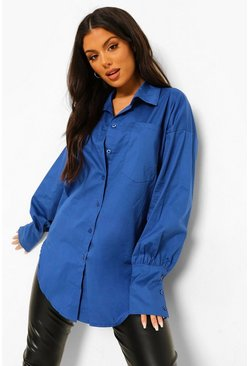 Cobalt blue Oversized Volume Sleeve Cotton Shirt
