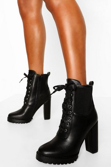 Black Elastic Detail Block Heel Hiker Boot