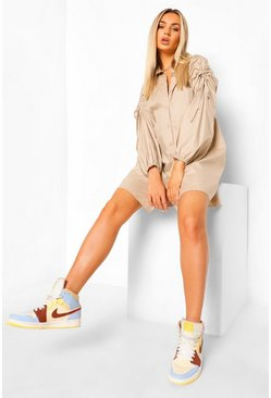 Ruched Shoulder Oversized Shirt Dress, Sand beige