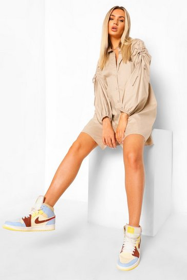 Sand beige Ruched Shoulder Oversized Shirt Dress