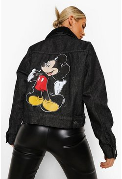 Black Disney Mickey Mouse Denim Jacket