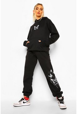 Black Butterfly Back Print Hooded Tracksuit