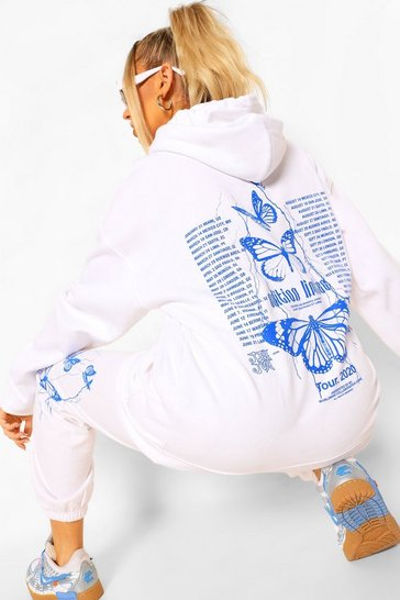 White Butterfly Back Print Hooded Tracksuit