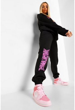 Black Worldwide Graphic Print Tracksuit