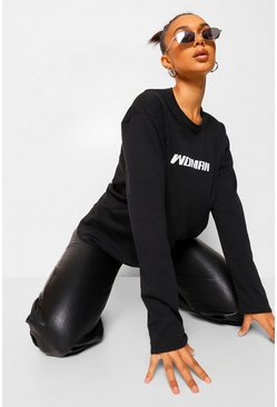 Woman Long Sleeve Oversized T-shirt, Black noir