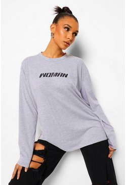Grey Woman Long Sleeve Oversized T-shirt