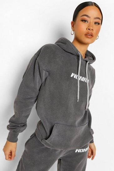 Black Woman Acid Wash Oversized Hoodie