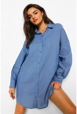 Mid blue blue Oversized Work Shirt Chambray Dress