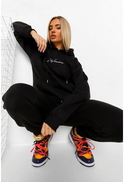 Black Woman Embroidered Hooded Tracksuit