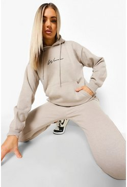 Stone beige Woman Embroidered Hooded Tracksuit
