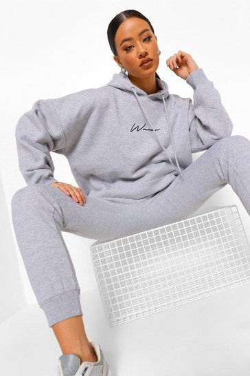 Grey marl grey Oversized Woman Embroidered Hooded Tracksuit